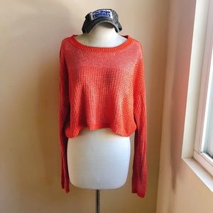 UO Red Orange Crop Sweater